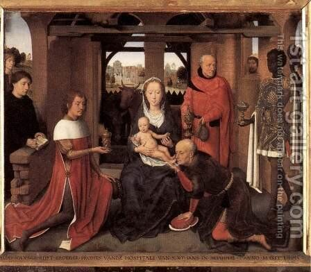 Triptych of Jan Floreins [detail: 1, central panel] by Hans Memling - Reproduction Oil Painting