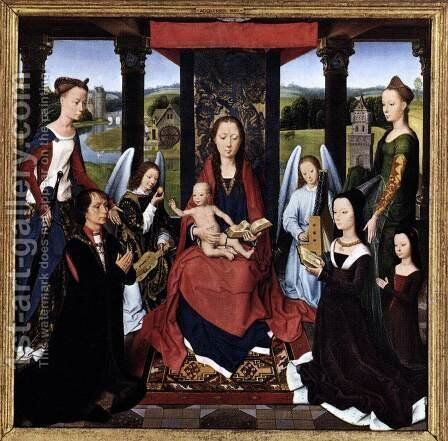 The Donne Triptych [detail: 2, central panel] by Hans Memling - Reproduction Oil Painting