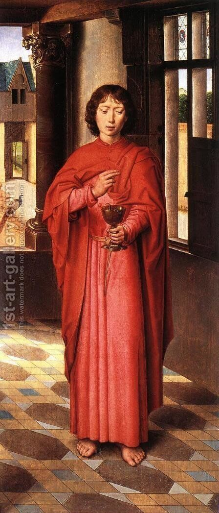 The Donne Triptych [detail: 6, right wing] by Hans Memling - Reproduction Oil Painting