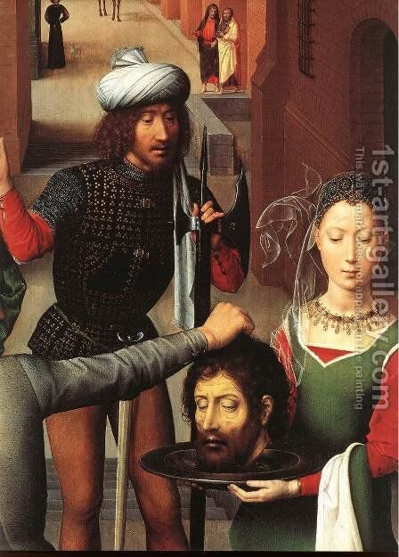 St John Altarpiece [detail: 2, left wing] by Hans Memling - Reproduction Oil Painting