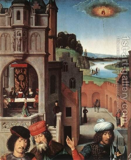 St John Altarpiece [detail: 3, left wing] by Hans Memling - Reproduction Oil Painting