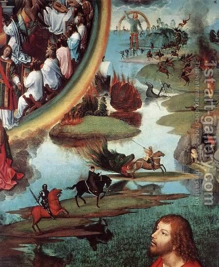 St John Altarpiece [detail: 9, right wing] by Hans Memling - Reproduction Oil Painting