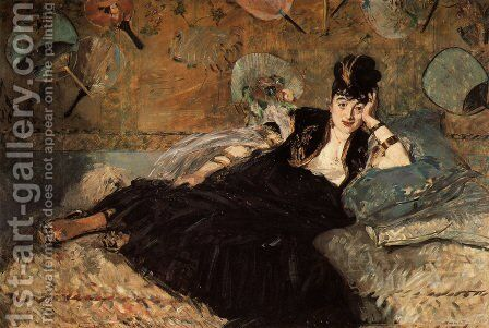 Woman with Fans (Nina de Callias) by Edouard Manet - Reproduction Oil Painting