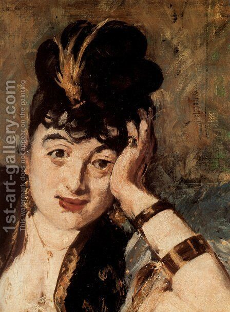 Woman with Fans [detail] (Nina de Callias) by Edouard Manet - Reproduction Oil Painting