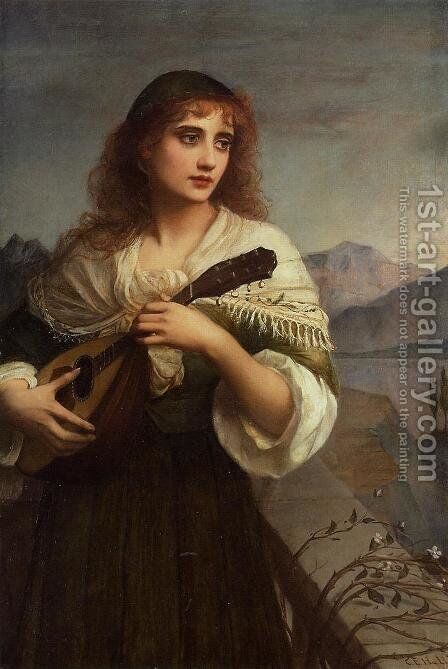 Francesca and Her Lute by Edward Charles Halle - Reproduction Oil Painting
