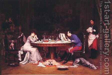The Neglectful Husband by Auguste Louis Georges Loustanau - Reproduction Oil Painting