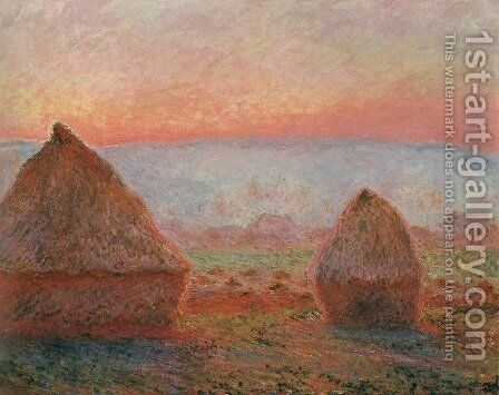 Les Meules à Giverny, soleil couchant (Haystacks at Giverny, the evening sun) by Claude Oscar Monet - Reproduction Oil Painting