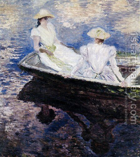 Girls In A Boat by Claude Oscar Monet - Reproduction Oil Painting