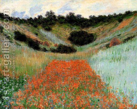 Poppy Field In A Hollow Near Giverny by Claude Oscar Monet - Reproduction Oil Painting