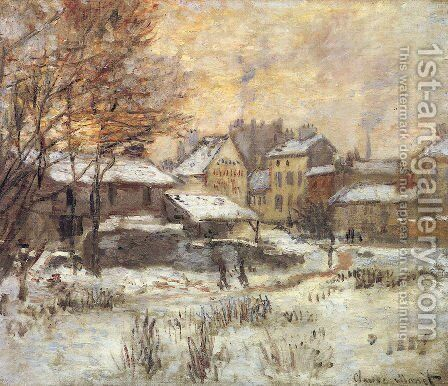 Snow Effect With Setting Sun by Claude Oscar Monet - Reproduction Oil Painting