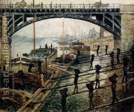 Unloading Coal by Claude Oscar Monet - Reproduction Oil Painting