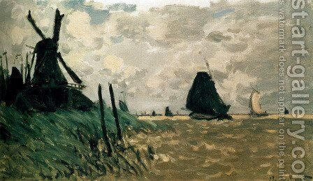 A Windmill Near Zaandam by Claude Oscar Monet - Reproduction Oil Painting
