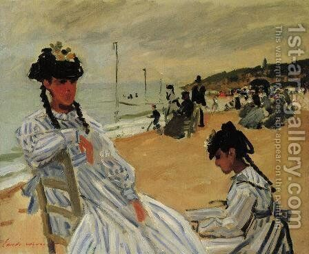 On The Beach At Trouville by Claude Oscar Monet - Reproduction Oil Painting