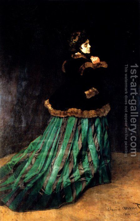 Woman In A Green Dress by Claude Oscar Monet - Reproduction Oil Painting