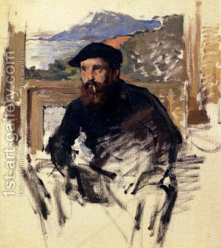 Self Portrait In His Atelier by Claude Oscar Monet - Reproduction Oil Painting