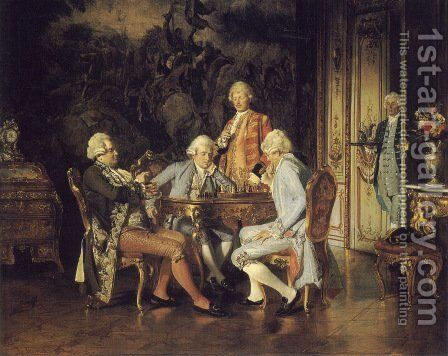 The Chess Players by Johann Hamza - Reproduction Oil Painting