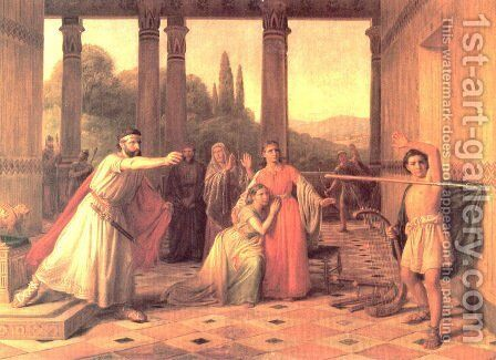 Saul Throwing his Spear at David by Constantin Hansen - Reproduction Oil Painting