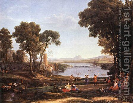 Landscape with Dancing Figures by Claude Lorrain (Gellee) - Reproduction Oil Painting
