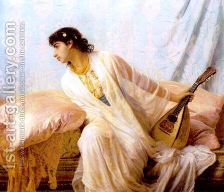To Her Listening Ear Responsive Chords of Music Came Familiar by Edwin Longsden Long - Reproduction Oil Painting