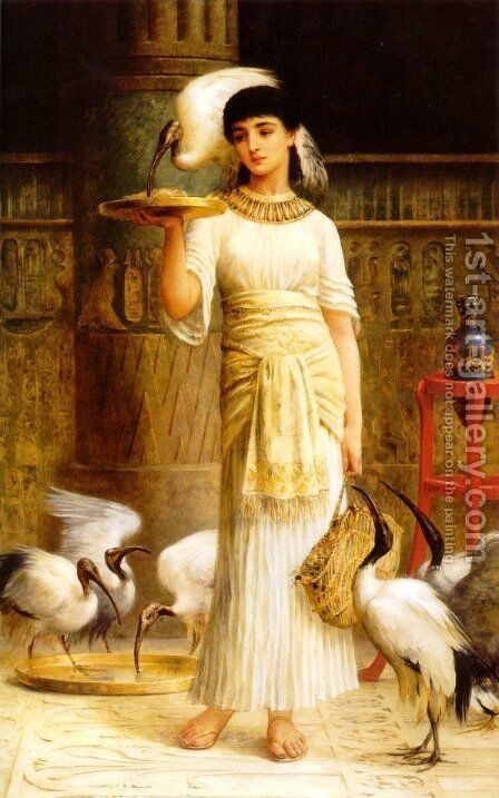 Ale the Attendant of the Sacred Ibis in the Temple of Isis by Edwin Longsden Long - Reproduction Oil Painting