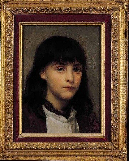 Portrait of a Young Girl by Edwin Harris - Reproduction Oil Painting