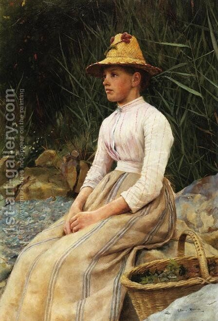 The Mussel Gatherer by Edwin Harris - Reproduction Oil Painting