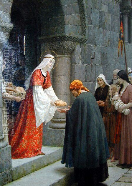 The Charity of St. Elizabeth of Hungary by Edmund Blair Blair Leighton - Reproduction Oil Painting
