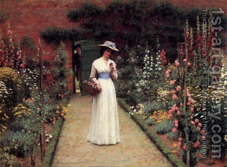 Lady in a Garden by Edmund Blair Blair Leighton - Reproduction Oil Painting