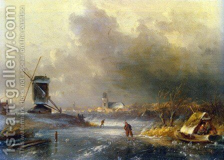 Winter Landscape with Skaters on a Frozen River by Charles Henri Joseph Leickert - Reproduction Oil Painting