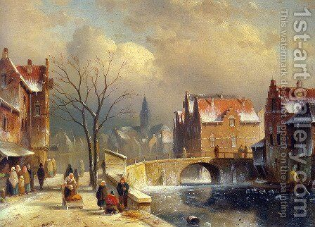 Winter Villagers on a Snowy Street by a Canal by Charles Henri Joseph Leickert - Reproduction Oil Painting