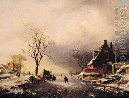 Winter Scene with Skaters by Charles Henri Joseph Leickert - Reproduction Oil Painting