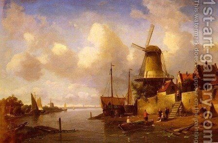 Winter and Summer Canal Scenes: A Pair of Paintings (Pic 2) by Charles Henri Joseph Leickert - Reproduction Oil Painting