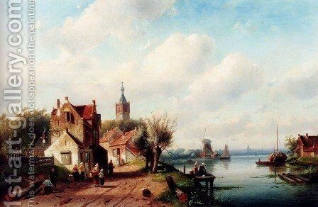 A Village Along A River, A Town In The Distance by Charles Henri Joseph Leickert - Reproduction Oil Painting