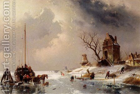 Figures Loading A Horse-Drawn Cart On The Ice by Charles Henri Joseph Leickert - Reproduction Oil Painting