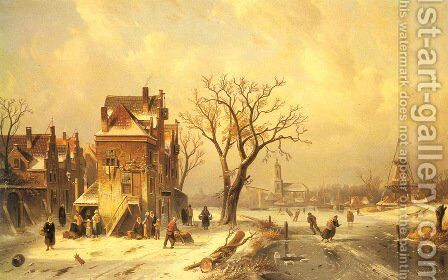 Skaters in a Frozen Winter Landscape by Charles Henri Joseph Leickert - Reproduction Oil Painting