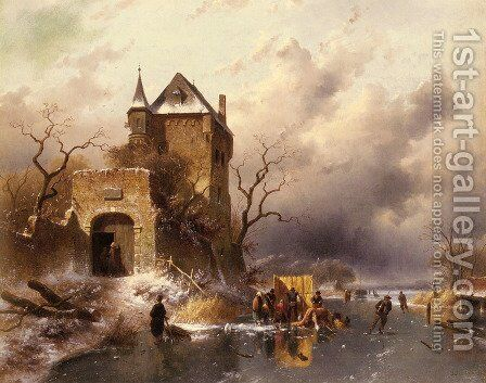 Skaters on a Frozen Lake by the Ruins of a Castle by Charles Henri Joseph Leickert - Reproduction Oil Painting