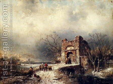 Villagers On A Frozen Path by Charles Henri Joseph Leickert - Reproduction Oil Painting