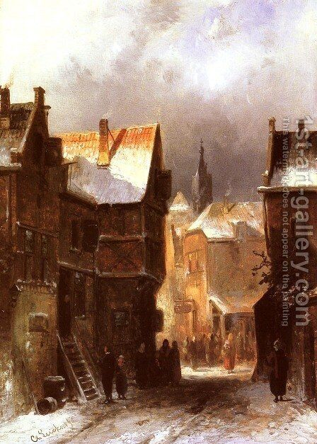 A Dutch Town in Winter by Charles Henri Joseph Leickert - Reproduction Oil Painting