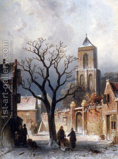A Village Snow Scene by Charles Henri Joseph Leickert - Reproduction Oil Painting
