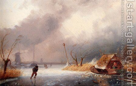 A Winter Landscape With Skaters On A Frozen Waterway by Charles Henri Joseph Leickert - Reproduction Oil Painting