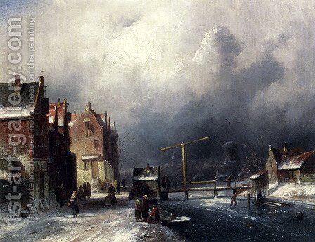 Figures In A Dutch Town By A Frozen Canal by Charles Henri Joseph Leickert - Reproduction Oil Painting