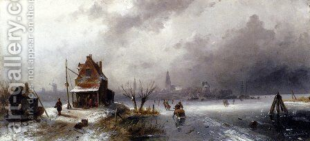 Figures On A Frozen Lake by Charles Henri Joseph Leickert - Reproduction Oil Painting