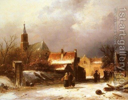 Figures on a Snow Covered Path with a Dutch Town beyond by Charles Henri Joseph Leickert - Reproduction Oil Painting
