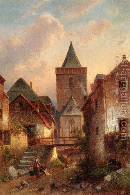 View In A German Village With Washerwomen by Charles Henri Joseph Leickert - Reproduction Oil Painting