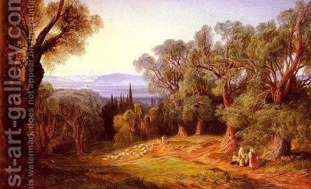 Corfu and the Albanian Mountains by Edward Lear - Reproduction Oil Painting