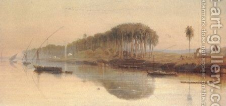 Sheikh Abadeh on the Nile by Edward Lear - Reproduction Oil Painting