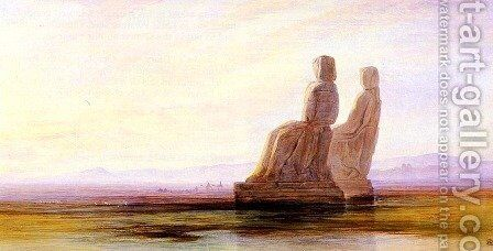The Plain Of Thebes With Two Colossi by Edward Lear - Reproduction Oil Painting