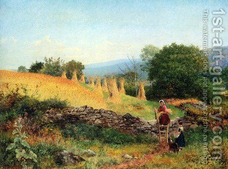 A Welsh Cornfield by Benjamin Williams Leader - Reproduction Oil Painting