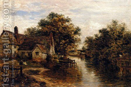 Willy Lott's House, The Subject Of Constable's 'Hay Wain' by Benjamin Williams Leader - Reproduction Oil Painting