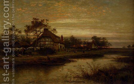 Worcestershire Cottage Homes, Evening by Benjamin Williams Leader - Reproduction Oil Painting